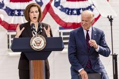 13 DE OCTUBRE DE 2016: Campañas de vicepresidente Joe Biden para Nevada Democratic U S Candidato Catherine Cortez Masto del senad Imagenes de archivo