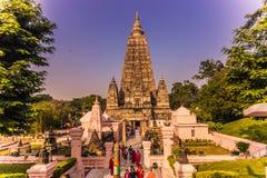30 de octubre de 2014: Entrada al templo budista de Mahabodhi en B Fotografía de archivo libre de regalías