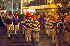 17 de octubre de 2015, Hastings, Reino Unido, sociedad de la hoguera en desfile anual de la luz de antorchas Imagen de archivo
