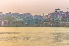 31 de octubre de 2014: Panorama de Varanasi, la India Imágenes de archivo libres de regalías