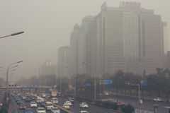 24 de octubre de 2014 - Pekín China Contaminación atmosférica en Pekín China imágenes de archivo libres de regalías