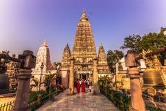 30 de octubre de 2014: Templo de Mahabodhi en Bodhgaya, la India Fotos de archivo libres de regalías