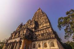 30 de octubre de 2014: Templo de Mahadobhi en Bodhgaya, la India Fotografía de archivo libre de regalías