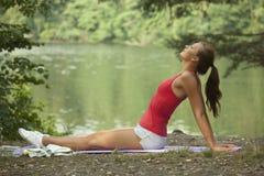 De oefeningen van de ademhaling Stock Foto's