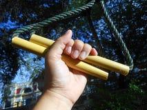De oefeningen van het kabelwapen Stock Foto