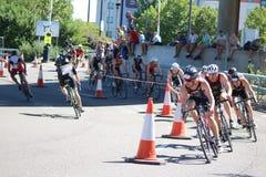 De oefeningssport van het Triathletestriatlon het gezonde cirkelen Royalty-vrije Stock Foto