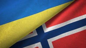 De Oekraïne en Noorwegen twee vlaggen textieldoek, stoffentextuur vector illustratie