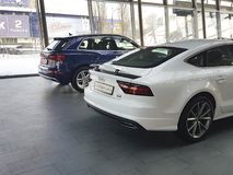De Oekraïne Kiev 25 Februari, van het het concepten de modieuze merk van 2018 modelpresentatie nieuwe auto's in Audi Motor Show Stock Afbeeldingen