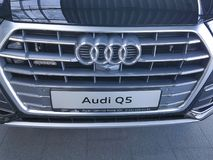 De Oekraïne Kiev 25 Februari, van het het concepten de modieuze merk van 2018 presentatie nieuwe auto's in Audi Motor Show Stock Foto's