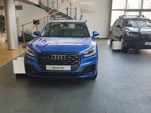 De Oekraïne Kiev 25 Februari, van de het merkpresentatie van 2018 de nieuwe auto's in Audi Motor Show Stock Afbeeldingen