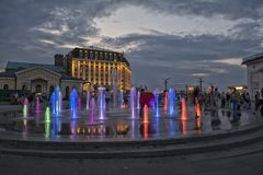 De Oekraïne, Kiev Podol Postvierkant, fonteinen royalty-vrije stock afbeelding