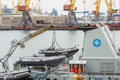 De Oekraïne, Odesa - Maart, 18, 2017: In de haven militaire schepen van Odessa royalty-vrije stock afbeeldingen