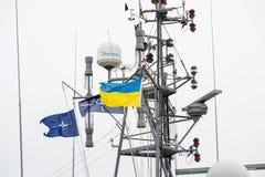 De Oekraïne, Odesa - Maart, 18, 2017: In de haven militaire schepen van Odessa stock afbeelding