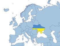 De Oekraïne op de kaart van Europa Royalty-vrije Stock Foto
