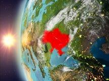 De Oekraïne tijdens zonsondergang van ruimte Royalty-vrije Stock Foto