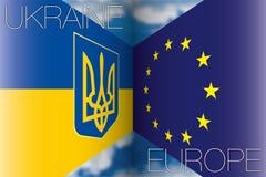 De Oekraïne versus de vlaggen van Europa Stock Foto's