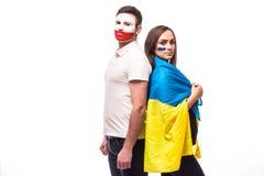 De Oekraïne versus Polen vóór spel op witte achtergrond Royalty-vrije Stock Foto