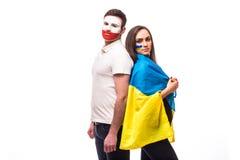 De Oekraïne versus Polen vóór spel op witte achtergrond Stock Afbeelding