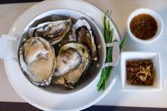 De oesters versieren met saus Royalty-vrije Stock Foto