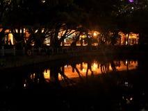 De oever van het meer van het park stock afbeeldingen