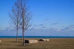 De oever van meermichigan met keien in park Stock Fotografie