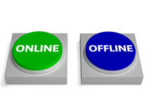De off-line Online Knopen toont Off-line of Online Stock Afbeelding