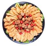De offertes en de vleesballetjes het richten zich van de kip stock foto