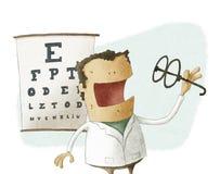 De oftalmoloog neemt glazen Stock Foto
