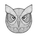 De ogen en de bek van Eagle Owl Volwassen antistress kleurende pagina Royalty-vrije Stock Afbeeldingen