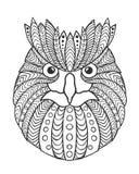 De ogen en de bek van Eagle Owl Volwassen antistress kleurende pagina Stock Foto's