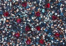 De Ogen Rode harten van strandstenen Stock Foto