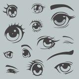 De ogen van de Animestijl plaatsen één kleur Royalty-vrije Stock Afbeeldingen