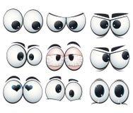De ogen van de beeldverhaaluitdrukking met verschillende meningen Stock Foto's