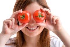 De ogen van de tomaat Stock Foto's