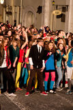 De ogenblikken van de de flitsmenigte dans van Eurovisie stock foto