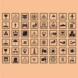 de ogistic symbolen van de pictogramverpakking Stock Afbeeldingen