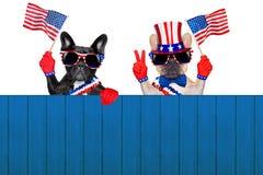 4de oh juli rij van honden stock fotografie