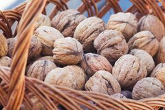 De okkernoten liggen in een rieten mand Nuttig en heerlijk voedsel _ stock foto