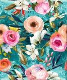 De olie schilderde naadloos bloemenpatroon royalty-vrije illustratie