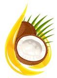De olie van de kokosnoot. Gestileerde daling. vector illustratie