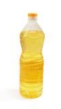 De olie van de zonnebloem in een fles Stock Foto