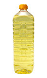 De olie van de zonnebloem in een plastic fles Stock Afbeeldingen