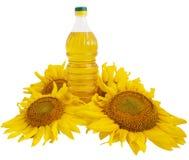 De olie van de zonnebloem en zonnebloem Stock Foto