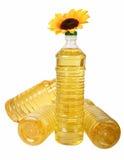 De olie van de zonnebloem in flessen Stock Fotografie