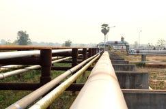 De Olie van het pijpleidingsvervoer, aardgas of water Stock Fotografie