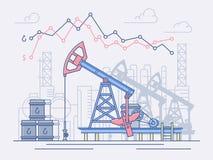 De olieindustrie, de pompen, de handel en de winst Vector Illustratie