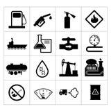 De olieindustrie en aardolie geplaatste pictogrammen Stock Fotografie