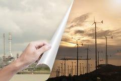 De olieindustrie van de hand de openingspagina voor windturbines stock foto's