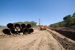 De oliepijpleiding van de bouw stock foto
