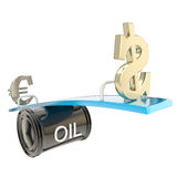 De olieprijs beïnvloedt euro en usd dollarmunt Stock Afbeelding